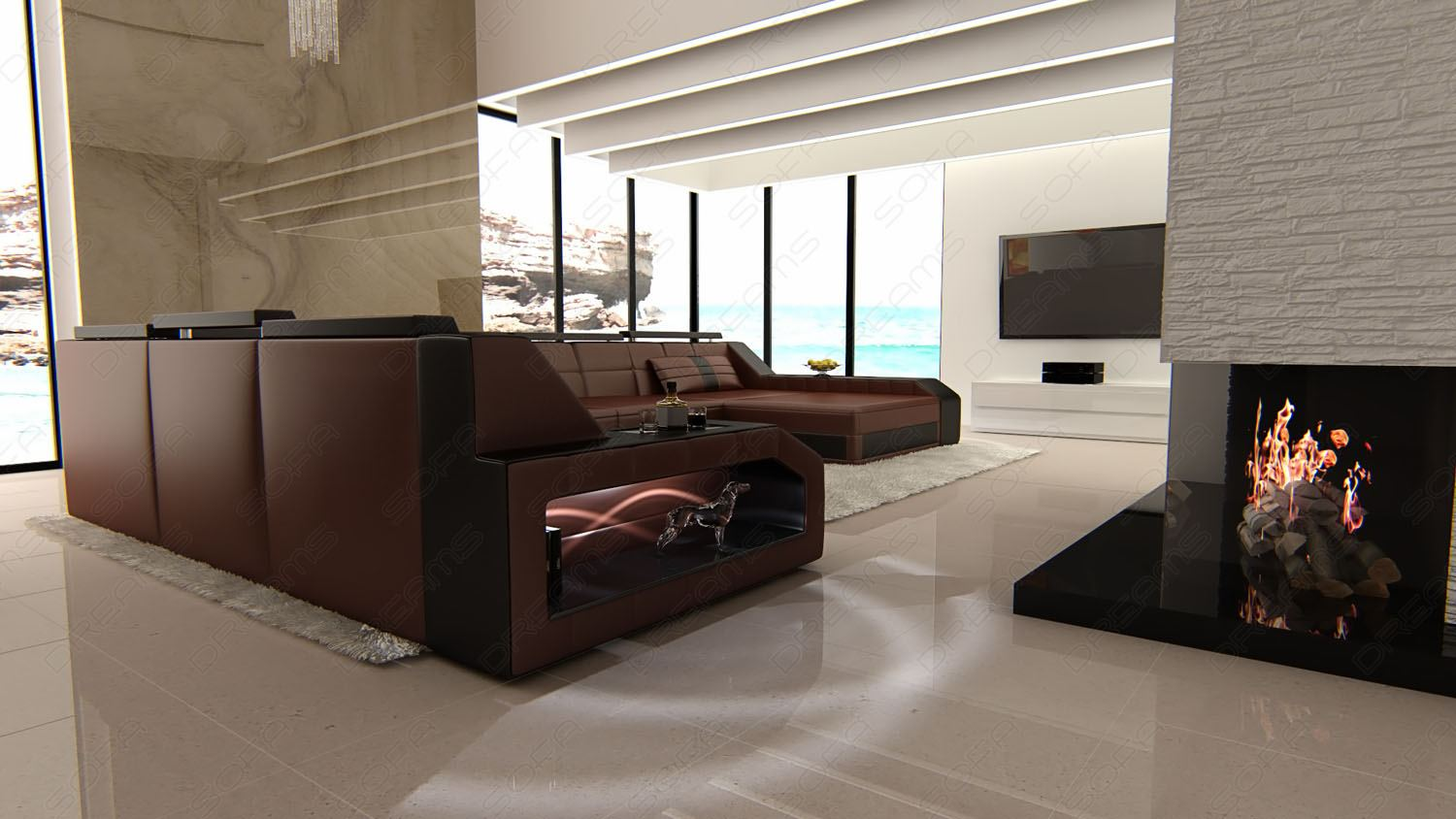 u shaped sofa xxl leather matera u form designer couch lighting ebay. Black Bedroom Furniture Sets. Home Design Ideas