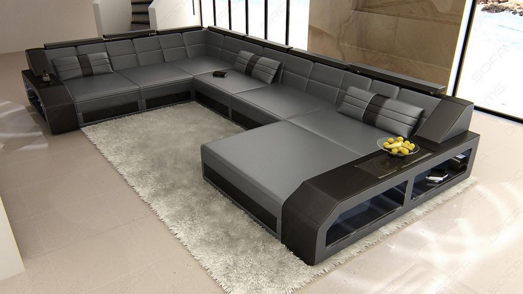 design sectional sofa matera xxl with led lights grey black ebay. Black Bedroom Furniture Sets. Home Design Ideas