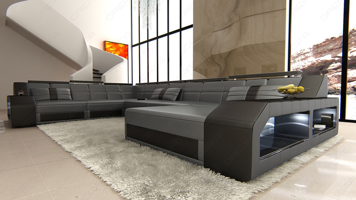 about design sectional sofa matera xxl with led lights grey black. Black Bedroom Furniture Sets. Home Design Ideas