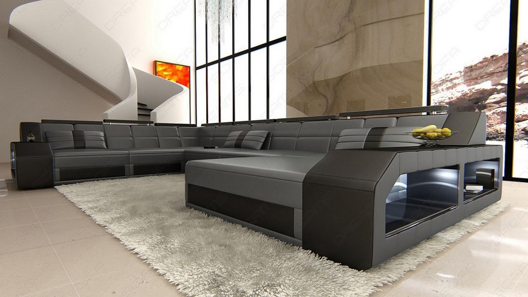 eckcouch design sofa matera grau schwarz ottomane led beleuchtung lagerware ebay. Black Bedroom Furniture Sets. Home Design Ideas