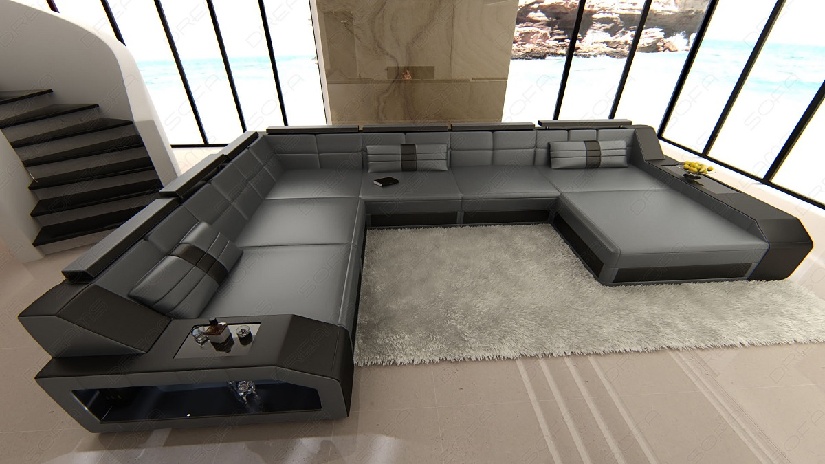 xxl sectional leather sofa matera with led lights colour selection ebay. Black Bedroom Furniture Sets. Home Design Ideas