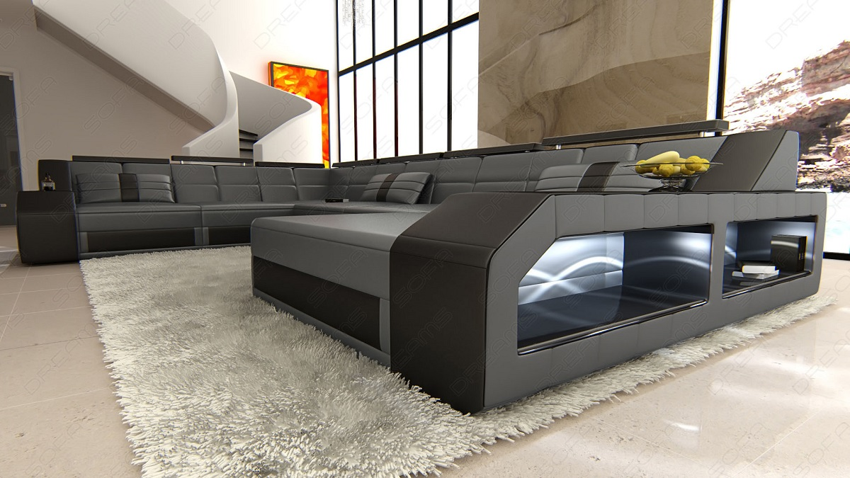 design sectional sofa matera xxl with led lights grey black ebay. Black Bedroom Furniture Sets. Home Design Ideas
