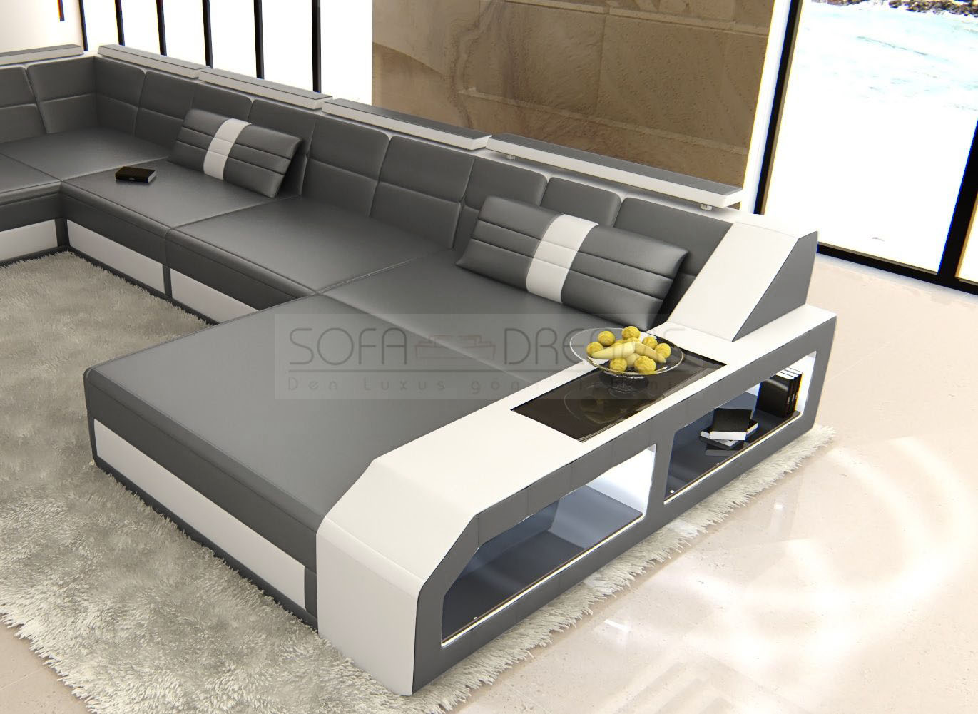 leather sofa italian design matera xxl in u shaped with led lighting luxury. Black Bedroom Furniture Sets. Home Design Ideas