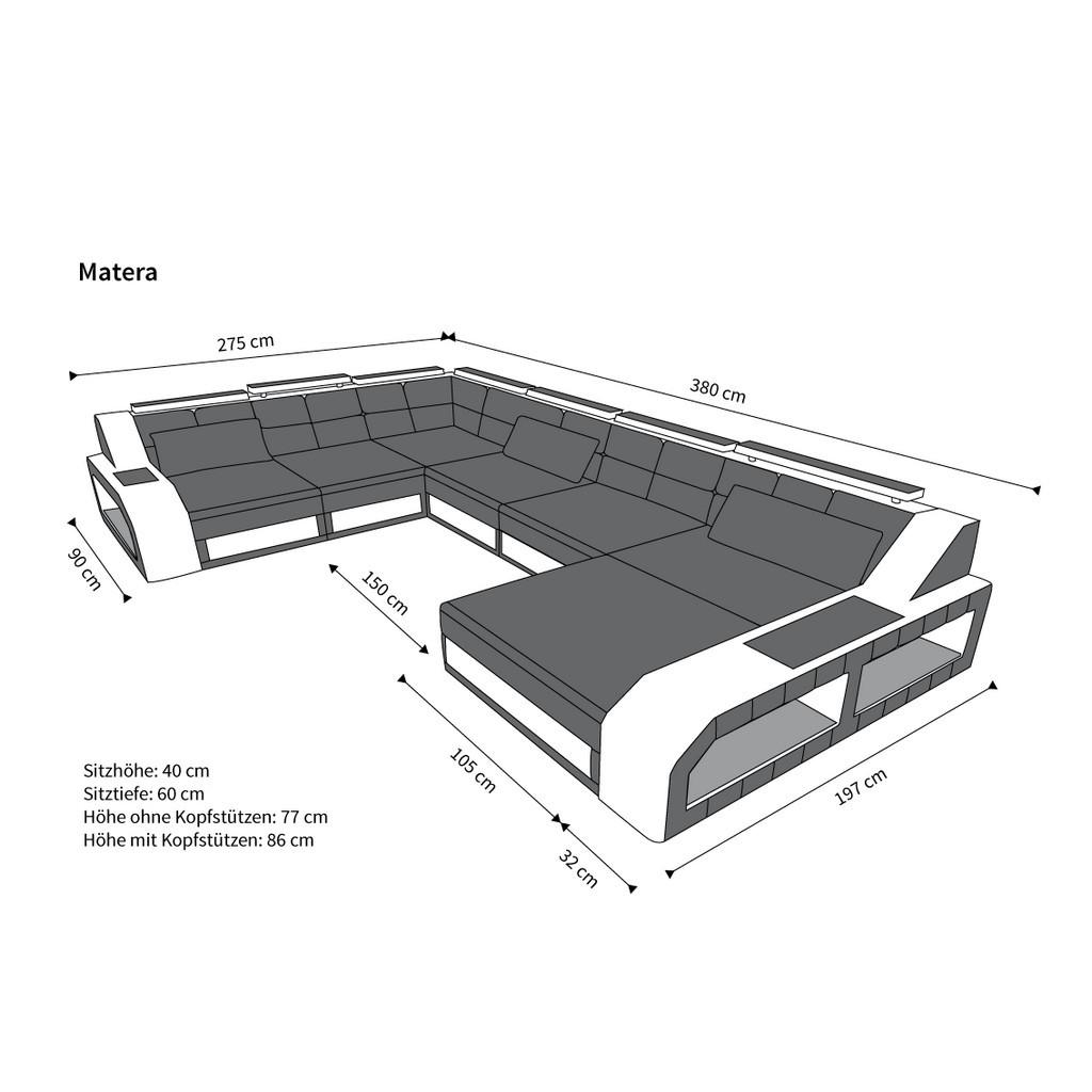 Couch u form maße  U-Shaped Sofa XXL Leather Matera U Form Designer Couch Lighting | eBay