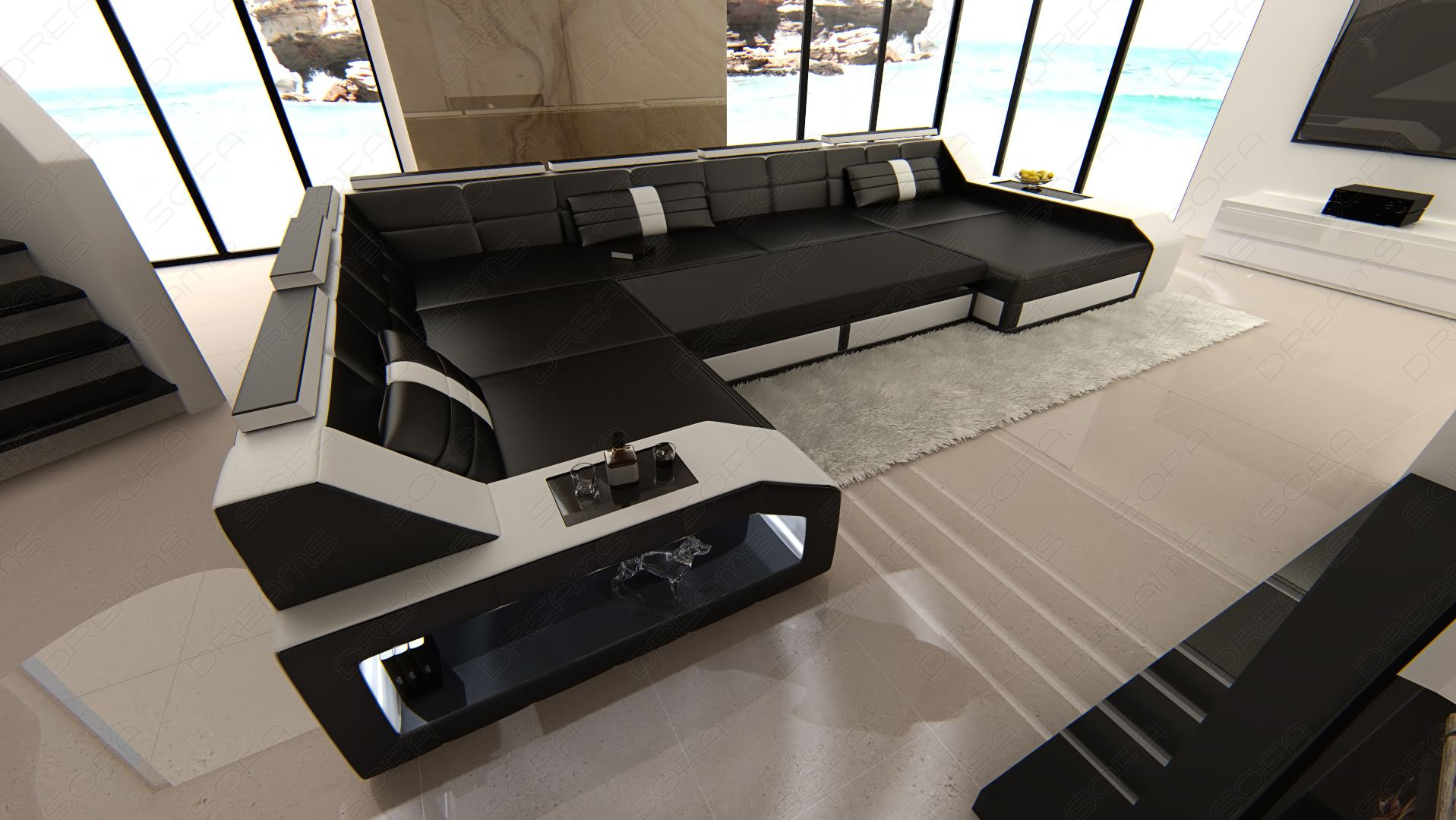 xxl sectional leather sofa matera with led lights colour selection. Black Bedroom Furniture Sets. Home Design Ideas