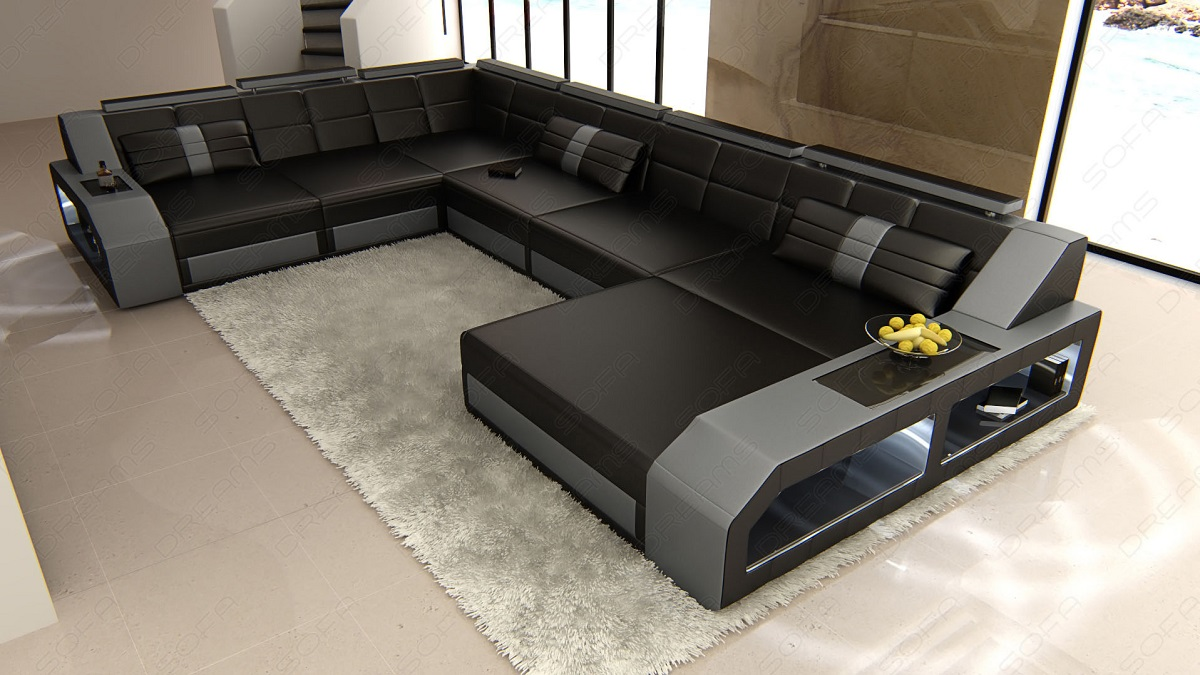 design sectional sofa matera xxl with led lights black grey ebay