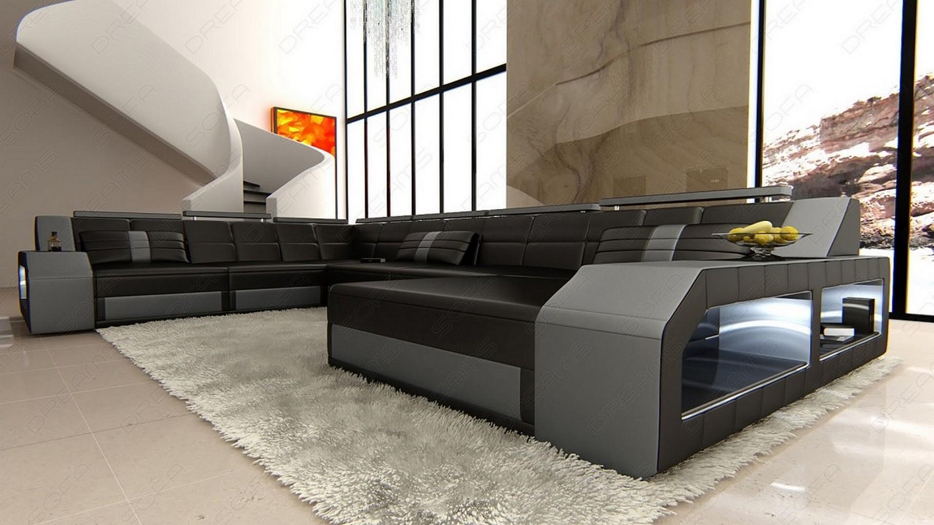 design sectional sofa matera xxl with led lights black. Black Bedroom Furniture Sets. Home Design Ideas