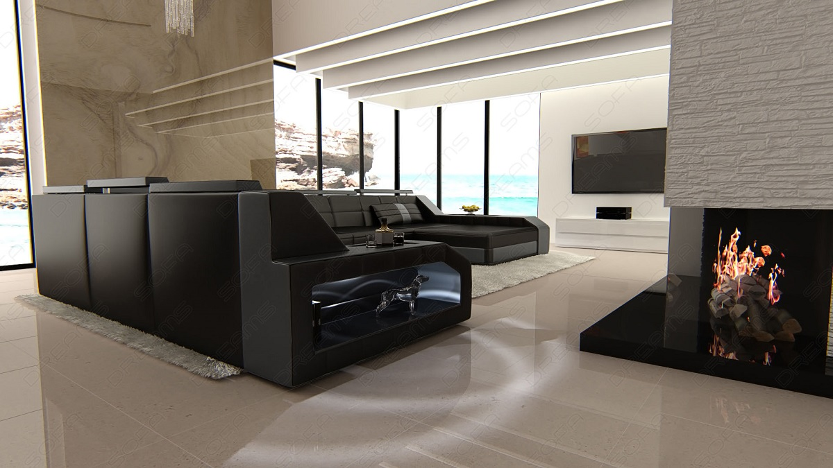 design sectional sofa matera xxl with led lights black grey ebay. Black Bedroom Furniture Sets. Home Design Ideas