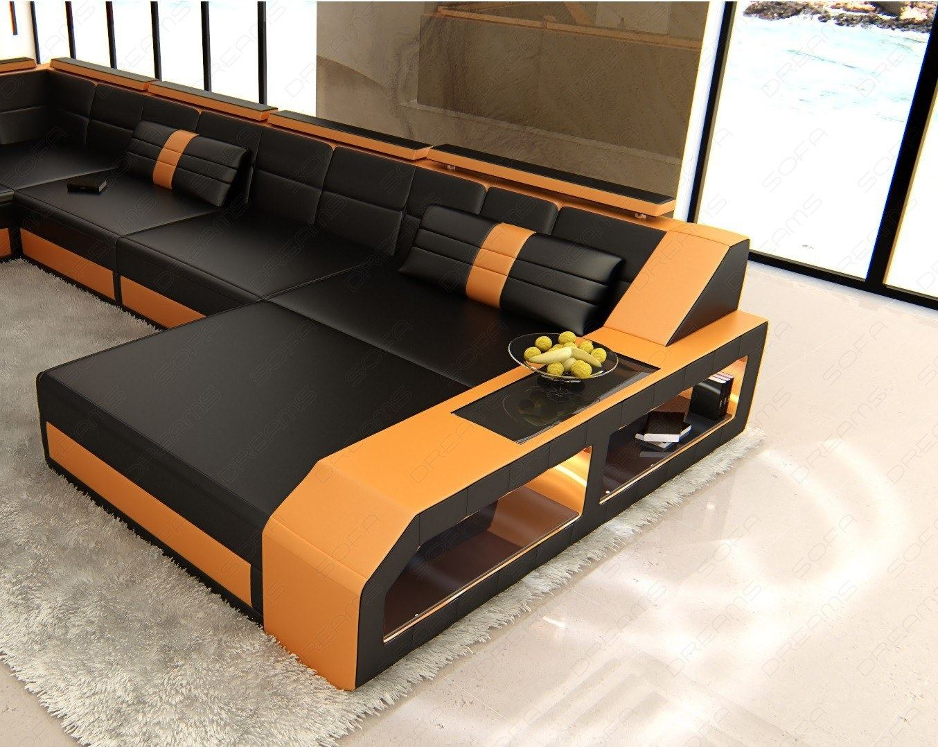 shaped sofa xxl leather matera u form designer couch lighting ebay. Black Bedroom Furniture Sets. Home Design Ideas