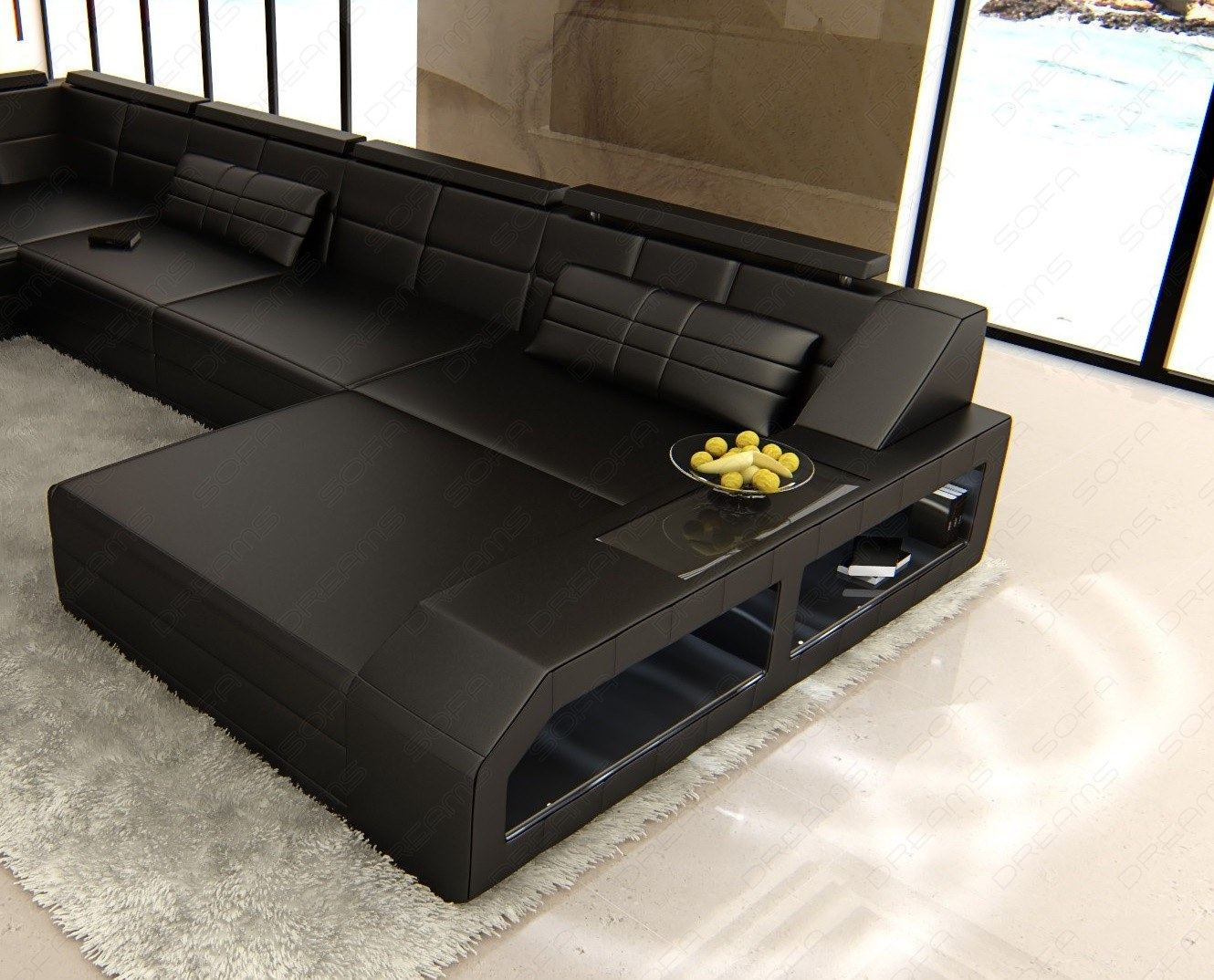 Couch u form braun  U-Shaped Sofa XXL Leather Matera U Form Designer Couch Lighting | eBay