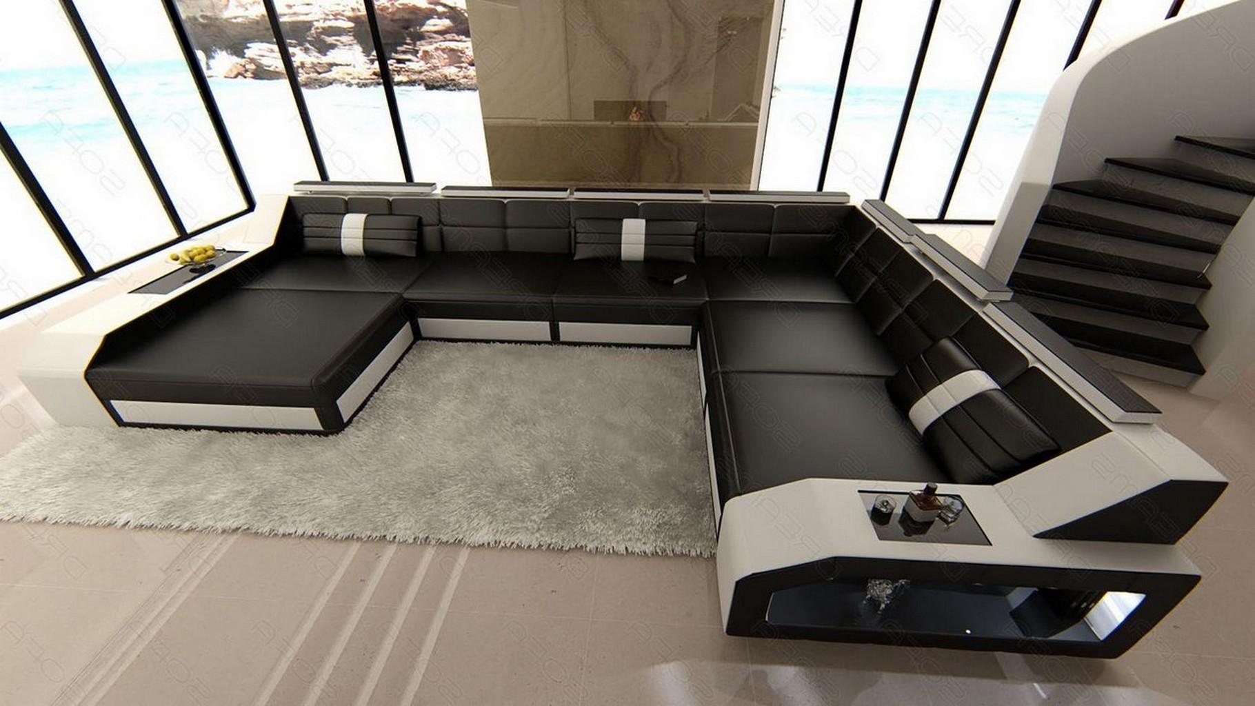 echtleder wohnlandschaft matera xxl schwarz weiss mit. Black Bedroom Furniture Sets. Home Design Ideas