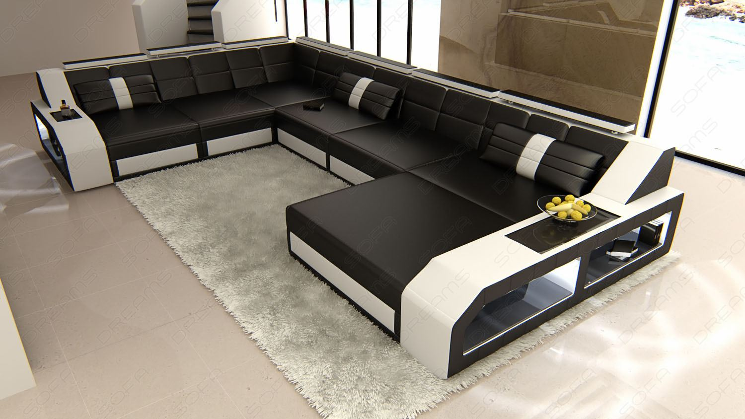 design sectional sofa matera xxl with led lights black white ebay. Black Bedroom Furniture Sets. Home Design Ideas