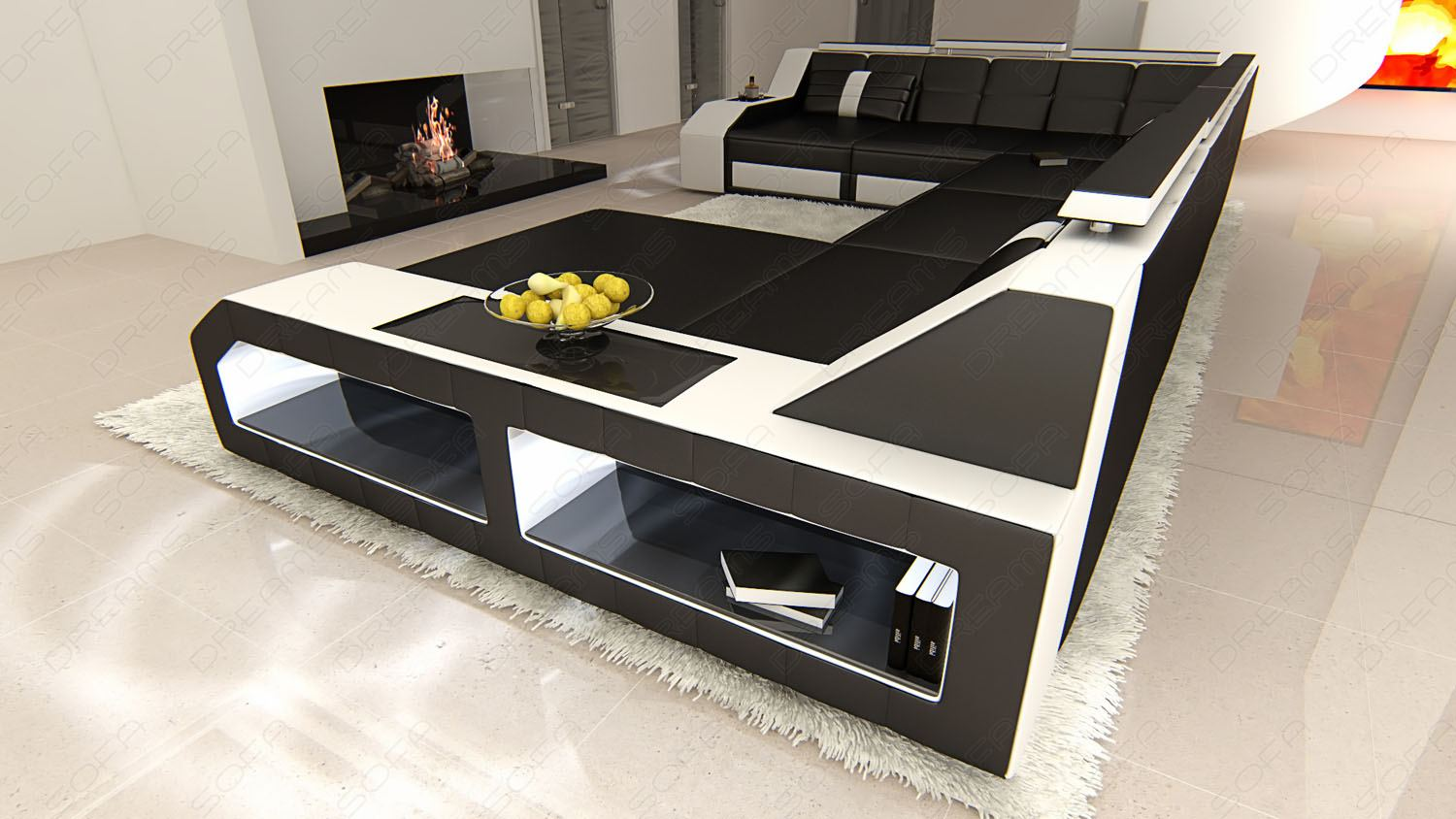 ledersofa ital design matera xxl in u form mit led. Black Bedroom Furniture Sets. Home Design Ideas
