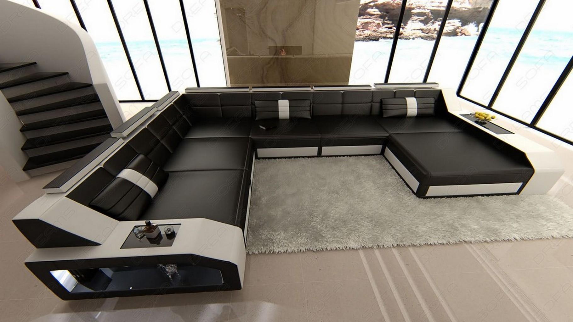 wohnlandschaft matera mit led schwarz weiss designer. Black Bedroom Furniture Sets. Home Design Ideas
