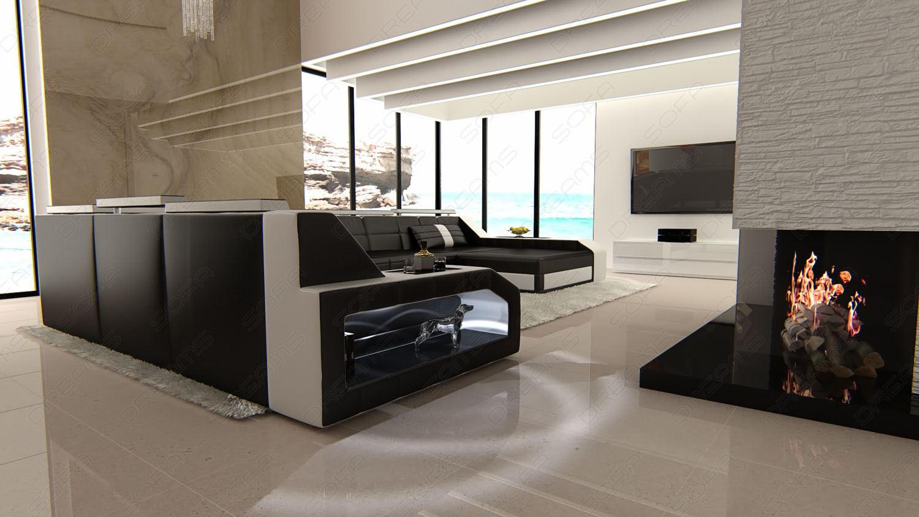 Design Sectional Sofa MATERA XXL with LED Lights black white  eBay