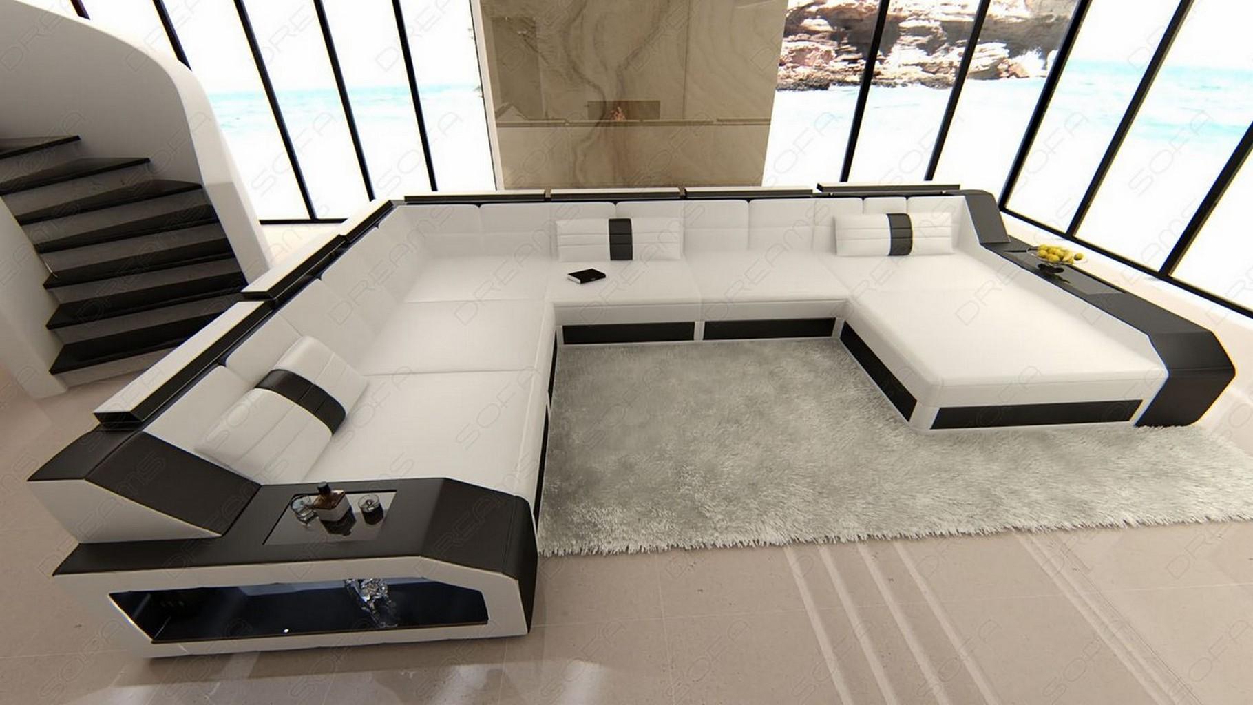 ledersofa wohnlandschaft matera u form mit led beleuchtung weiss schwarz ebay. Black Bedroom Furniture Sets. Home Design Ideas