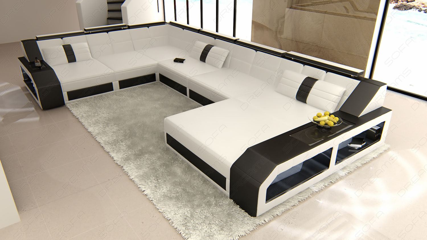 leather sofa italian design matera xxl in u shaped with led lighting. Black Bedroom Furniture Sets. Home Design Ideas