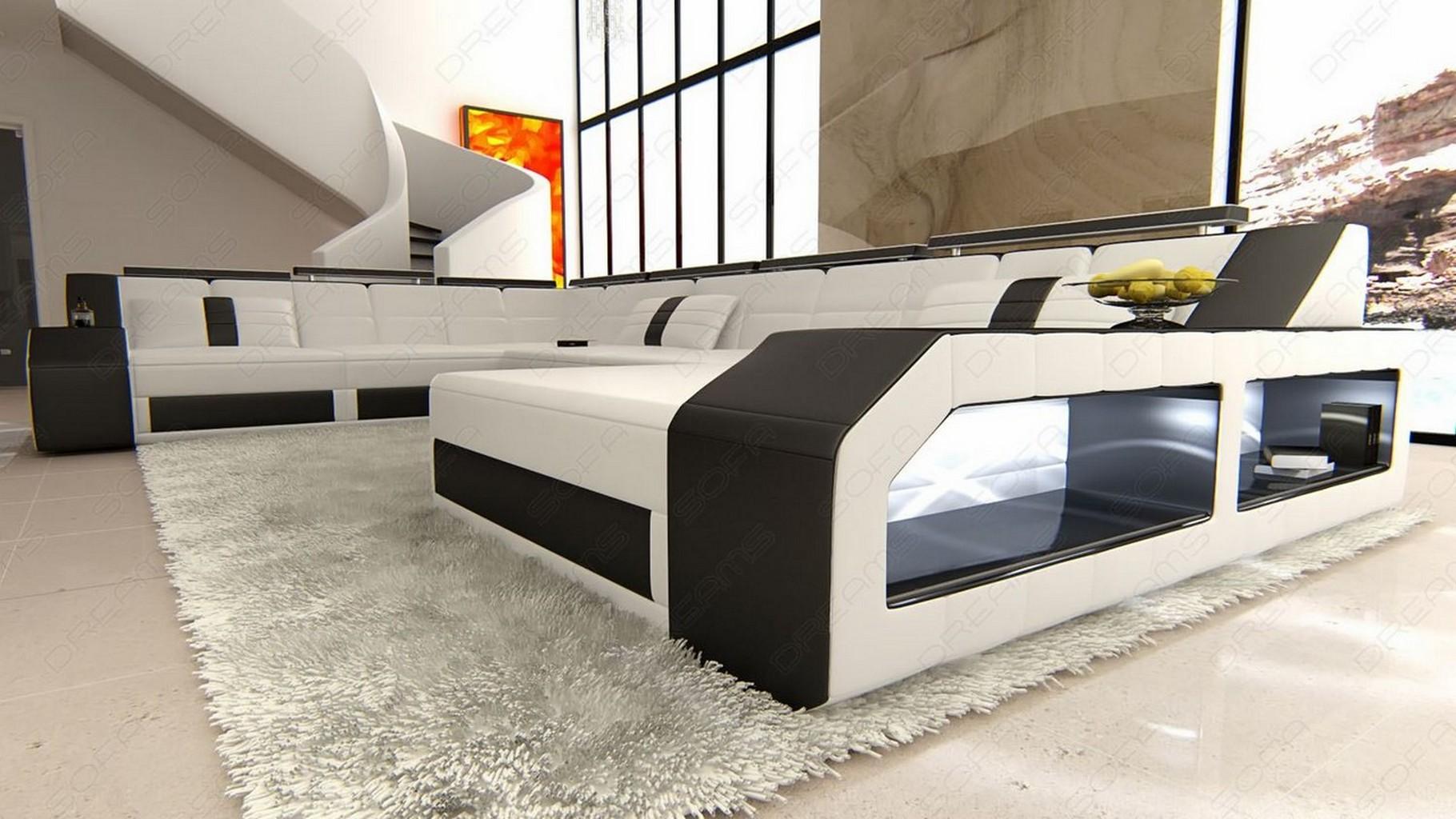 leather sofa interior design matera u shaped with led lighting white black ebay. Black Bedroom Furniture Sets. Home Design Ideas