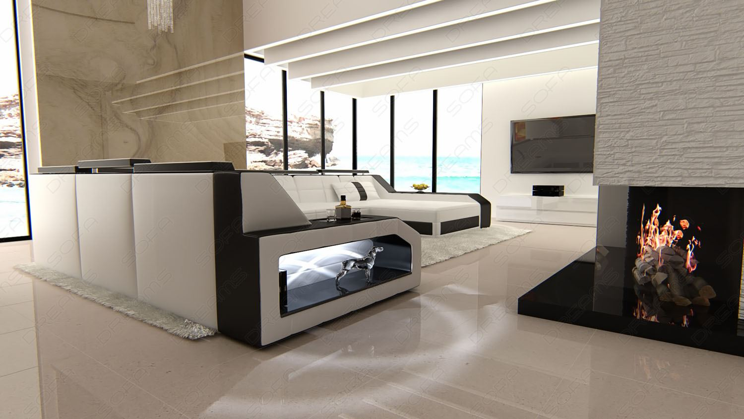 designer interior design matera white black leather. Black Bedroom Furniture Sets. Home Design Ideas