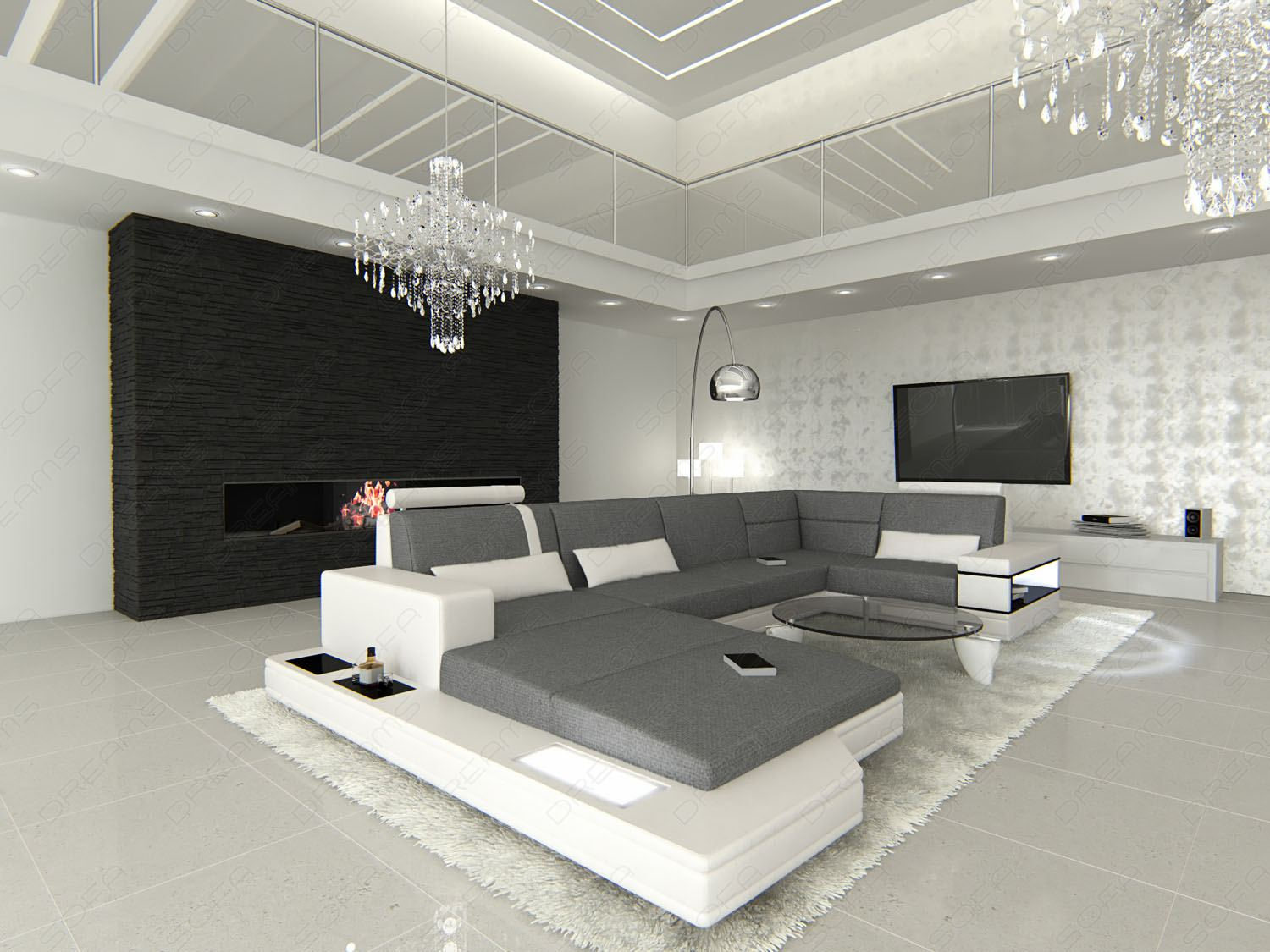 fabric sectional design sofa messana u shaped with lights. Black Bedroom Furniture Sets. Home Design Ideas
