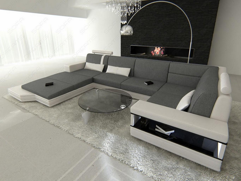couch ecksofa big sofa wohnlandschaft messana u form stoff leder mix beleuchtung ebay. Black Bedroom Furniture Sets. Home Design Ideas