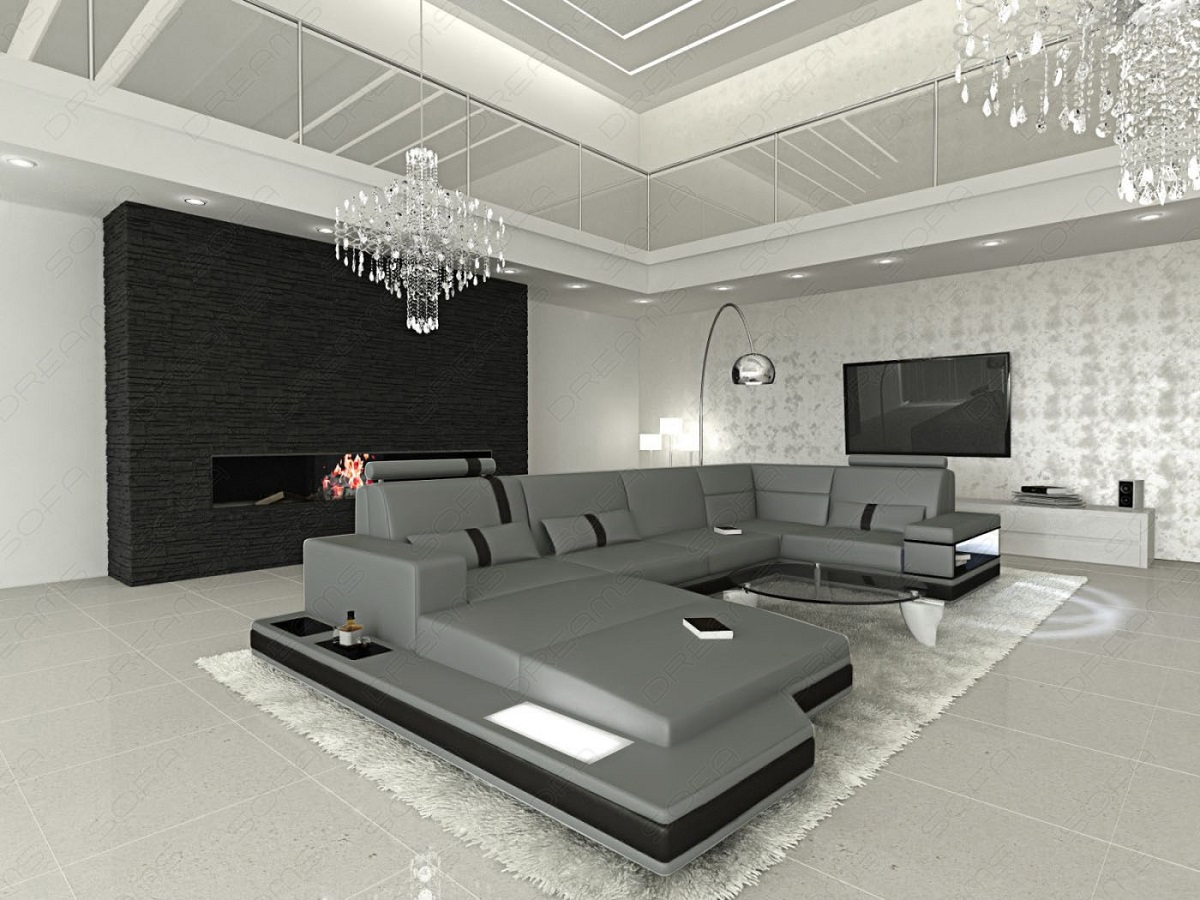 ledersofa messana designer sofa wohnlandschaft licht ebay. Black Bedroom Furniture Sets. Home Design Ideas