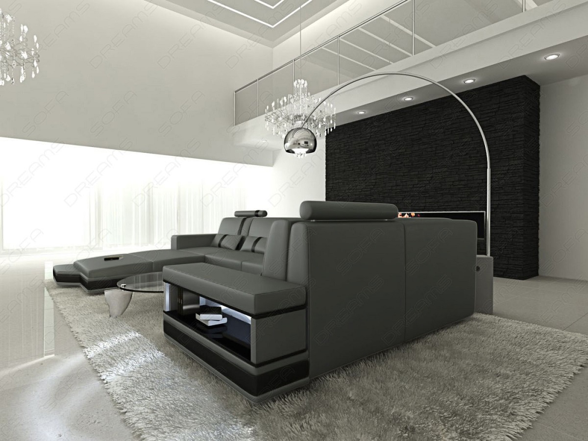 sofa messana led lights design sectional italian leather mix couch usb port 4055497059167 ebay. Black Bedroom Furniture Sets. Home Design Ideas