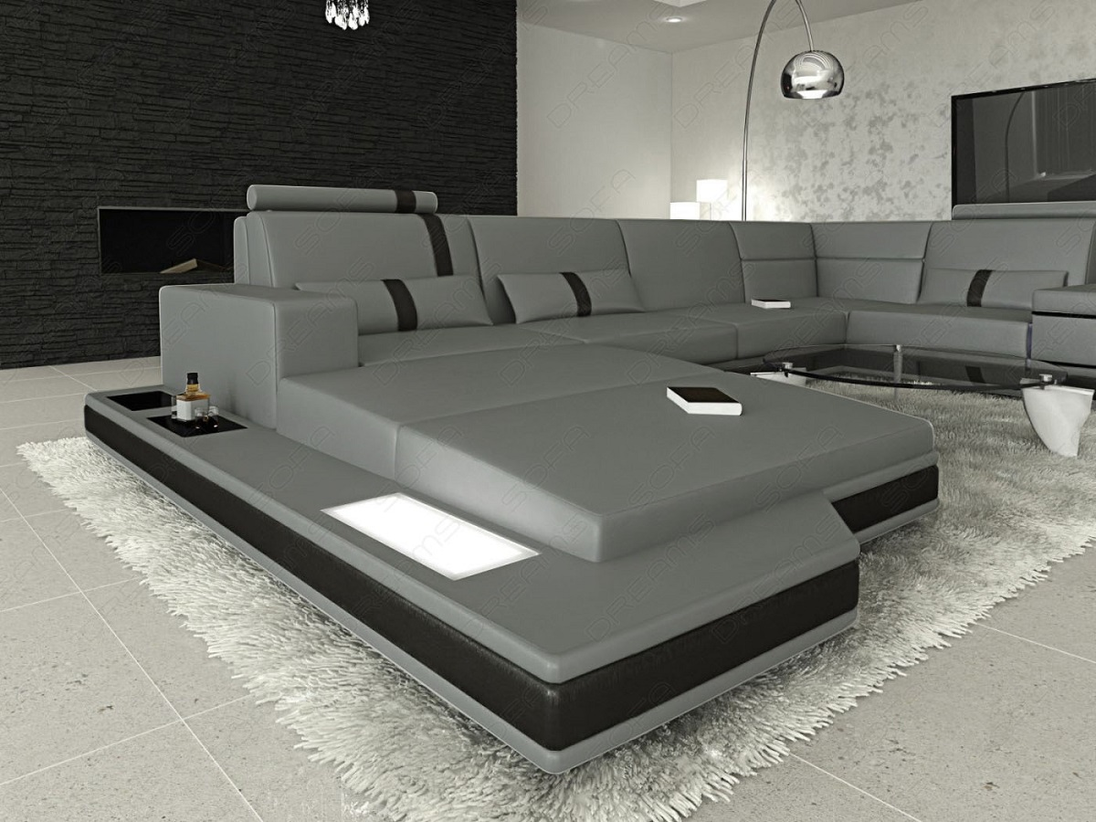 wohnlandschaft messana u form luxus ledersofa beleuchtung grau ebay. Black Bedroom Furniture Sets. Home Design Ideas