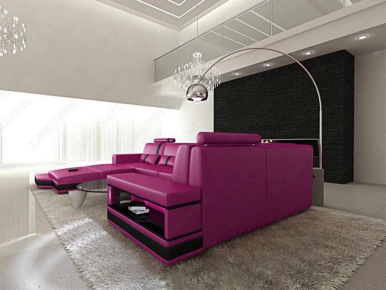 design u shaped leathersofa messana with led lights pink. Black Bedroom Furniture Sets. Home Design Ideas