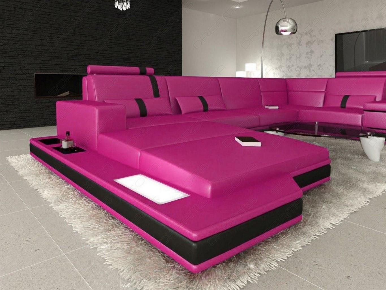 Wohnlandschaft Designersofa Ecksofa Messana U Form Xl Beleuchtung Pink Schwarz Ebay