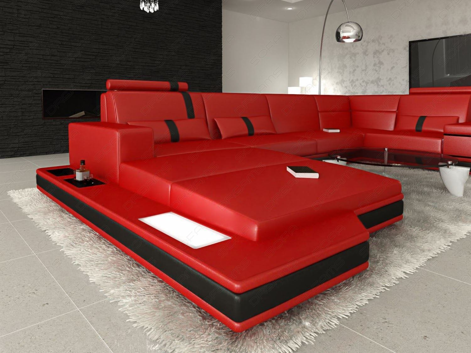 ledersofa messana designersofa mit beleuchtung rot couch garnitur ebay. Black Bedroom Furniture Sets. Home Design Ideas
