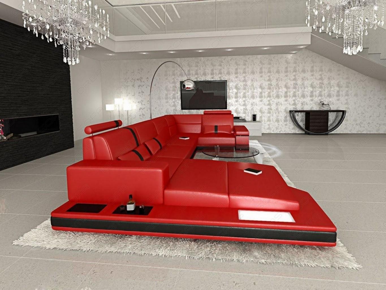 sofa couch ledersofa messana u form designersofa led beleuchtung ottomane rot ebay. Black Bedroom Furniture Sets. Home Design Ideas