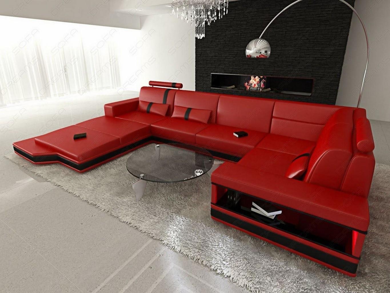 Design wohnlandschaft  Couchgarnitur Wohnzimmer LED Messana Design Wohnlandschaft Sofa ...