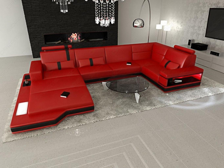 Sofa couch ledersofa messana u form designersofa led for Wohnlandschaft rot schwarz