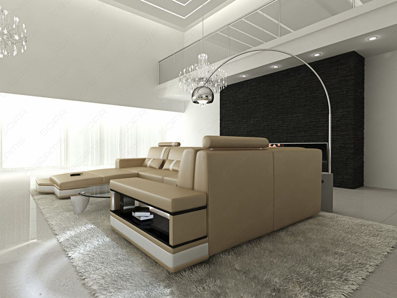 ledersofa messana in u form xxl eckcouch sandbeige ebay. Black Bedroom Furniture Sets. Home Design Ideas