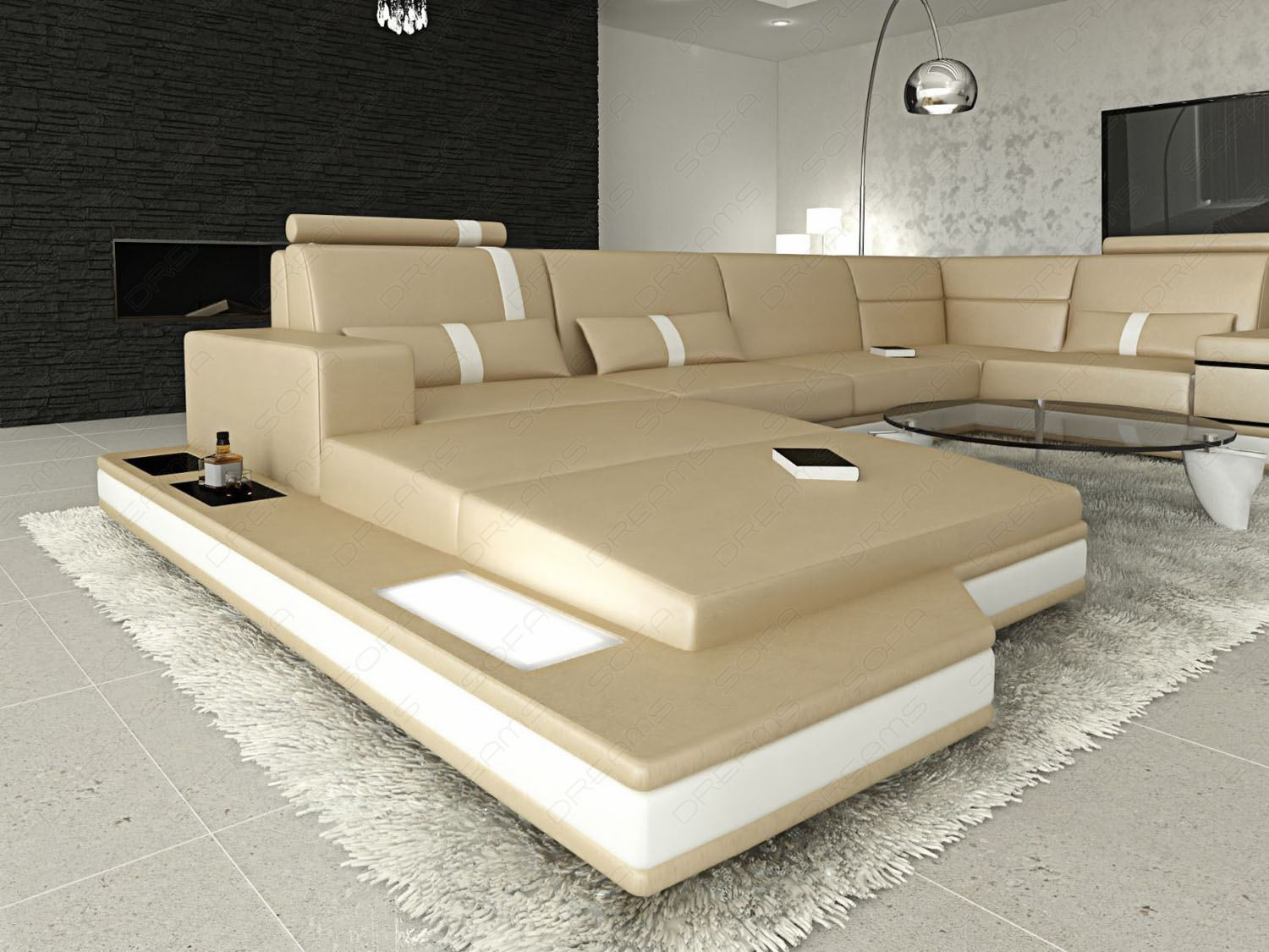 ledersofa messana in u form xxl eckcouch sandbeige ebay. Black Bedroom Furniture Sets. Home Design Ideas