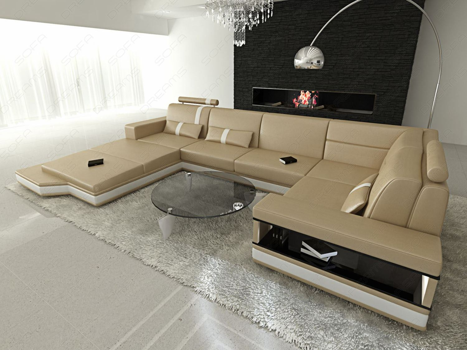 leather sofa messana in u shaped xxl corner couch sand. Black Bedroom Furniture Sets. Home Design Ideas