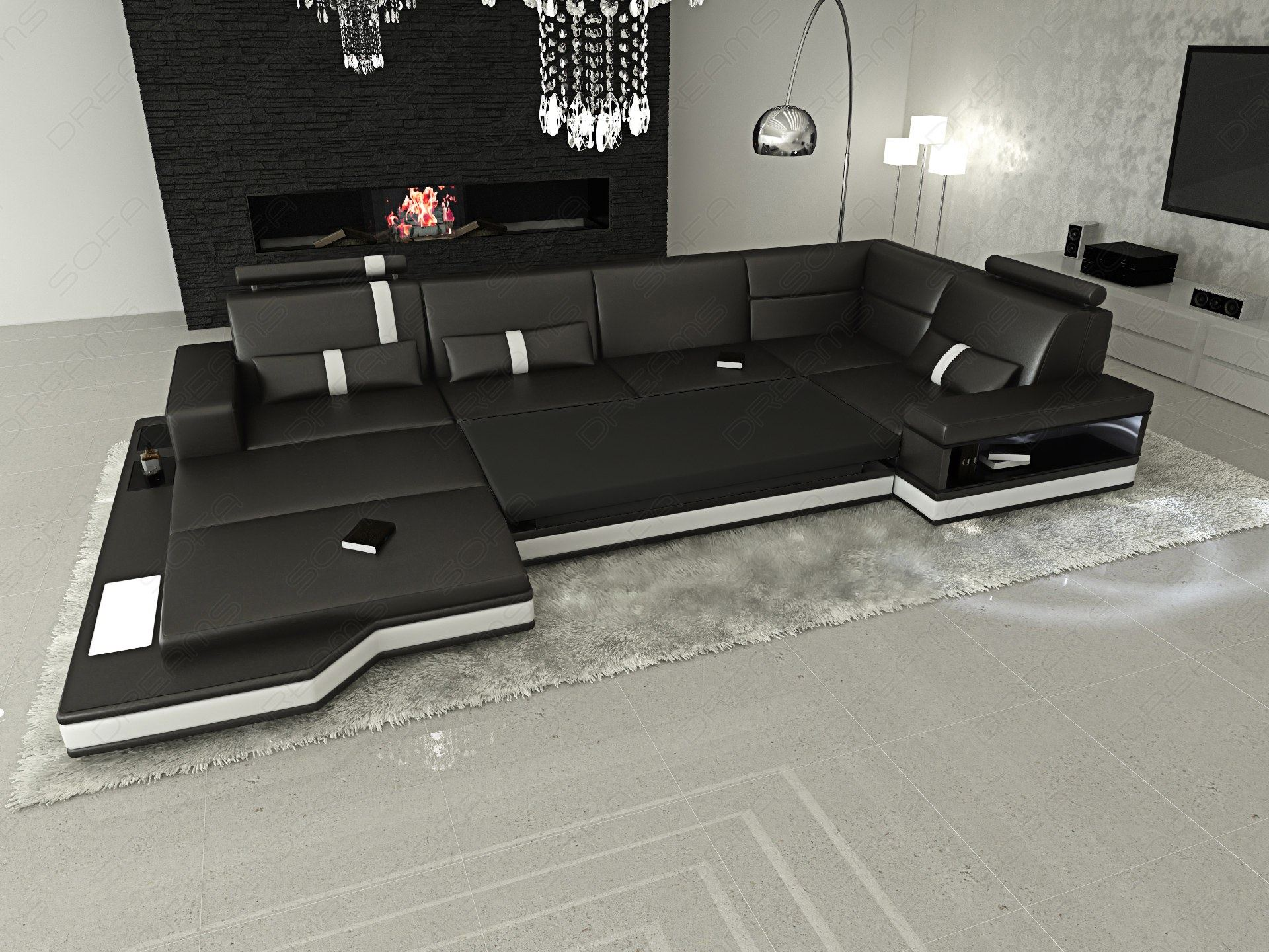 Fabric sectional design sofa messana u shaped with lights for Sofa u form mit schlaffunktion