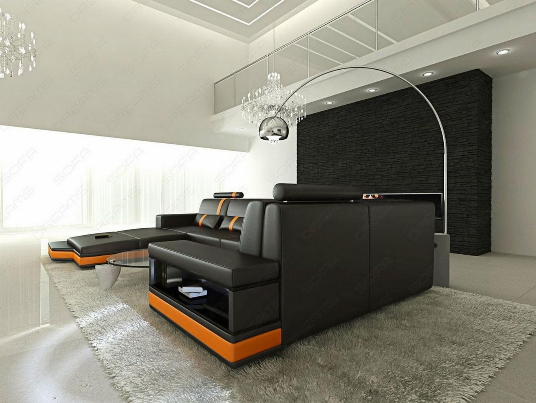 designersofa luxus wohnlandschaft messana u form schwarz orange led beleuchtung ebay. Black Bedroom Furniture Sets. Home Design Ideas