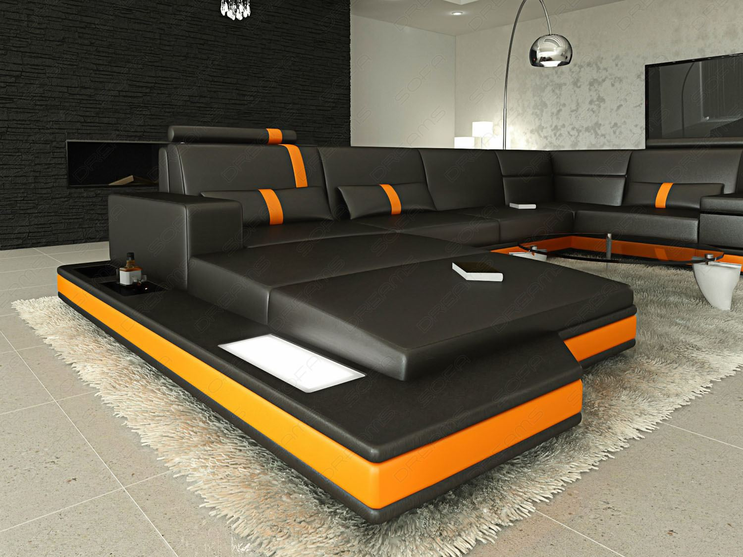 designersofa luxus wohnlandschaft messana u form schwarz orange led beleuchtung ebay. Black Bedroom Furniture Sets. Home Design Ideas