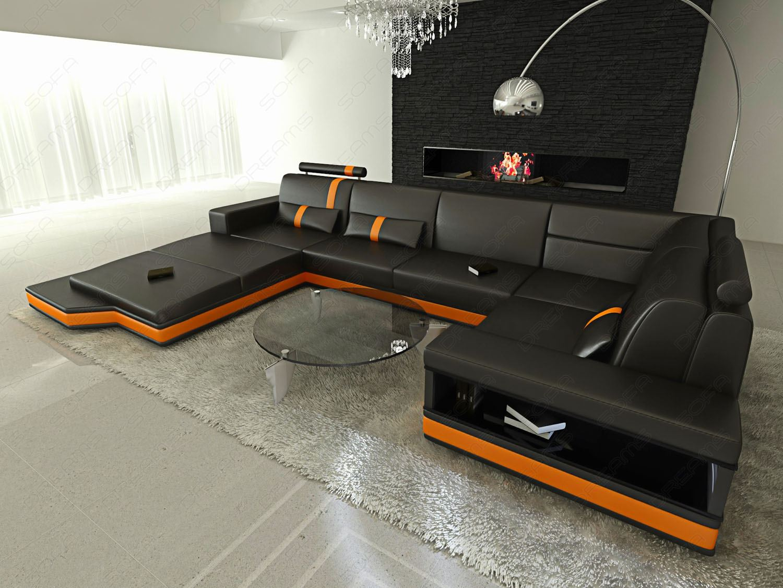 kunstledersofa messana designercouch wohnlandschaft mit beleuchtung. Black Bedroom Furniture Sets. Home Design Ideas