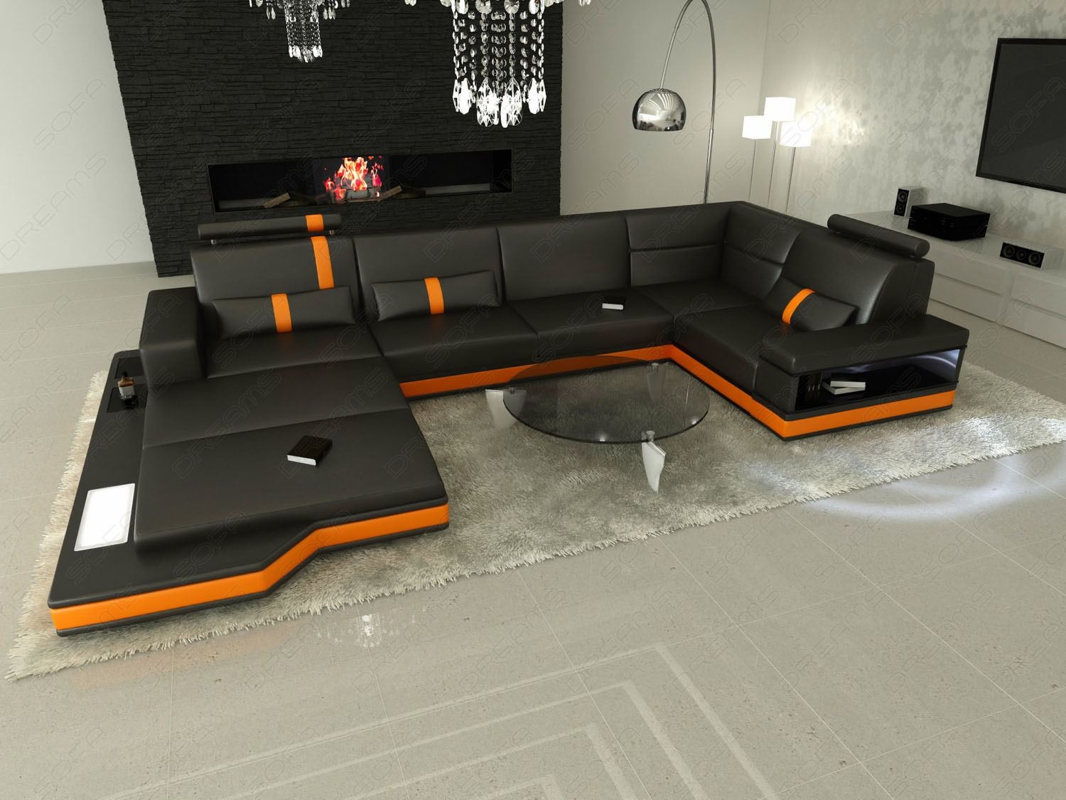 Wohnlandschaft design  Sofa MESSANA LED Lights Luxus Design Sectional Italian leather ...