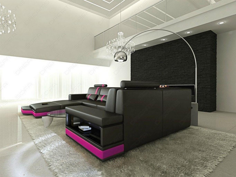 Wohnlandschaft design messana u form in schwarz pink for Ledersofa schwarz