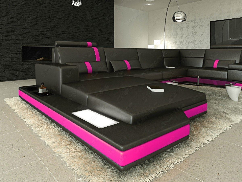 interior design design messana u shaped in black pink leather sofa with lighting ebay. Black Bedroom Furniture Sets. Home Design Ideas