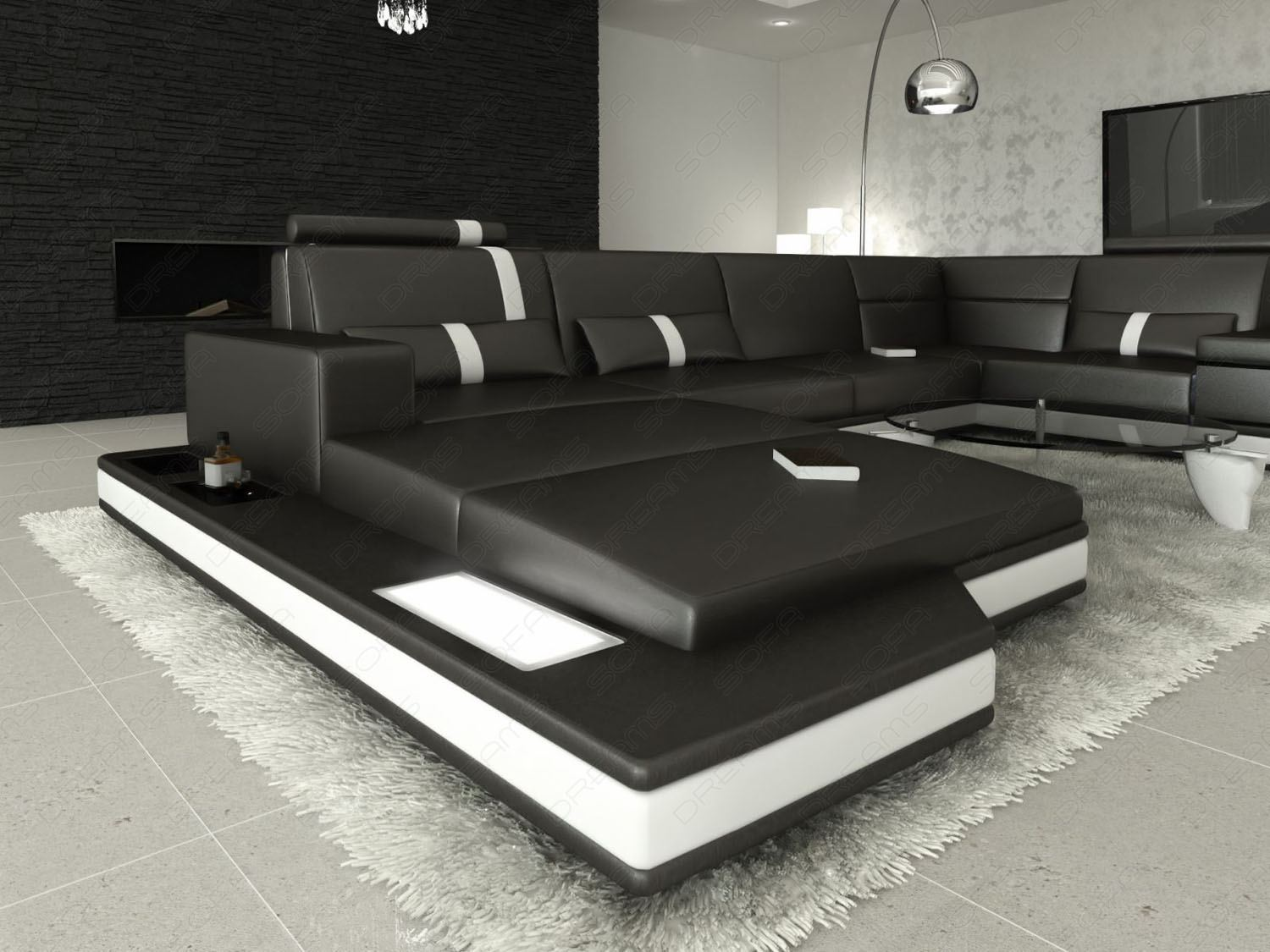 ledersofa messana designersofa mit beleuchtung schwarz eckcouch sofa ebay. Black Bedroom Furniture Sets. Home Design Ideas