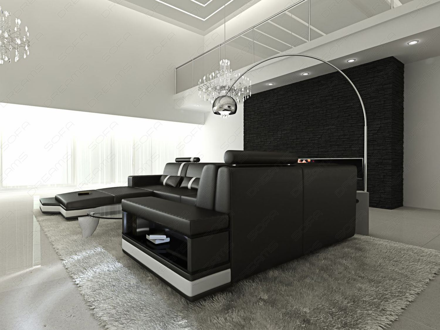 ledersofa messana schwarz weiss designersofa beleuchtung. Black Bedroom Furniture Sets. Home Design Ideas