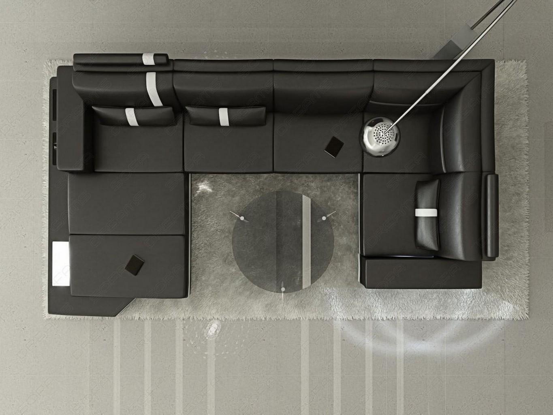 Ledersofa messana designersofa mit beleuchtung schwarz for Sofa von oben