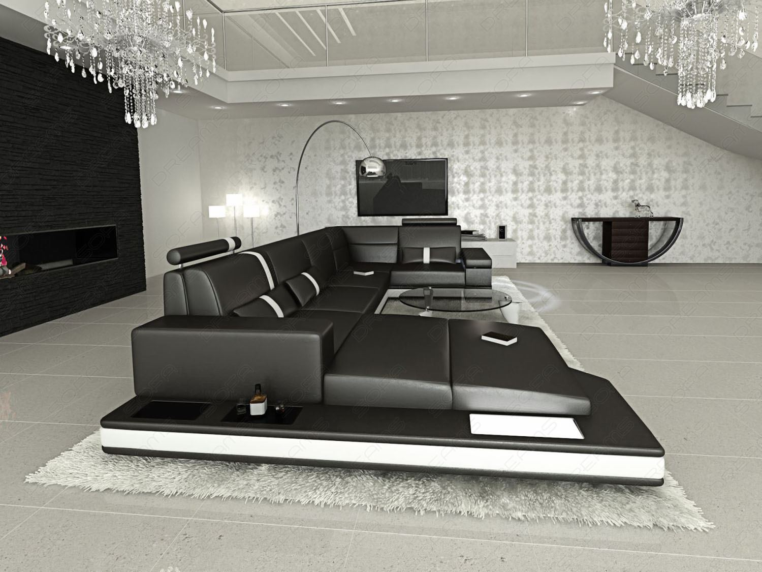 couchgarnitur wohnzimmer led messana design wohnlandschaft. Black Bedroom Furniture Sets. Home Design Ideas