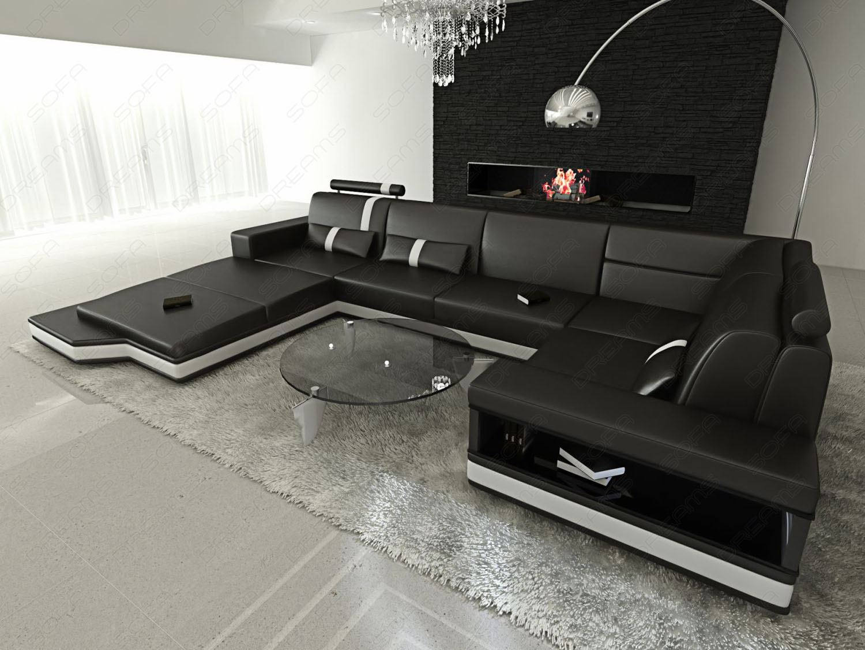 Designer couch  Ecksofa Couchgarnitur Ledersofa Designer-Sofa Couch MESSANA LED ...
