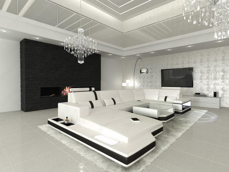 ledersofa messana designersofa mit beleuchtung weiss sofa ebay. Black Bedroom Furniture Sets. Home Design Ideas